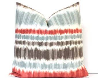 Ikat Stripes Decorative Designer Pillow Cover Accent Cushion modern suzani robins egg aqua blue grey gray taupe brown mocha scarlet red