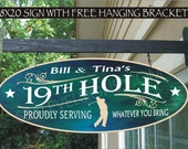 GOLFER 19th Hole Clubhouse Garden Gift Family Name Aluminum Custom Personalized Sign