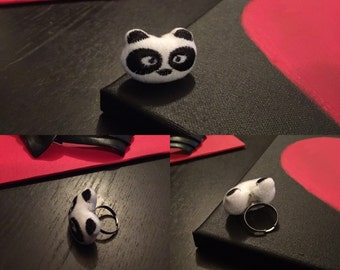 Black & White Panda Statement Ring Handmade and One of A Kind