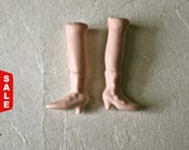 Closeout Sale - Porcelain Bisque Tiny Doll Legs with High Top Heeled Boots for Altered Art and Doll Making