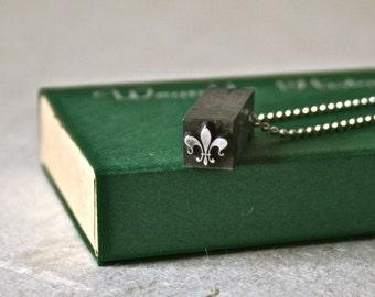 Fleur de Lis Vintage Letterpress Type Ornament or Dingbat Drilled and Polished for Jewelry or Unisex Pendant