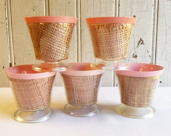 Vintage Raffia and Melmac Sherbet Cups or Dessert Dishes - Pink and Coral - Ice Cream Bowls - Set of Five - 1950s or 1960s