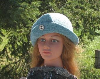 Fjord Heather Pale Aqua Knit Felted Felt Hat Wool Split Brim