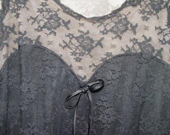 Vintage Black Lace Gossard Artemis Peignoir Set