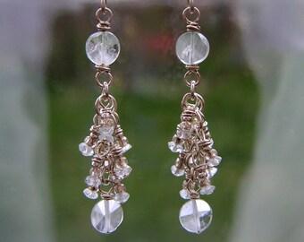 Delicate Aquamarine Cluster Earrings Sterling Silver Dangles March Birthstone Earrings Blue Gemstone Earrings
