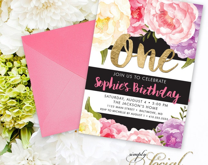 Floral First Birthday Party Invitation - Floral Peony Purple Pink Yellow Faux Gold Foil Black Stripes Boho Flowers Any Age Printable