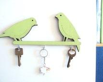 Key hook, green home decor, wall key holder, decorative key hook, decorative  wall hook, birds wall hook