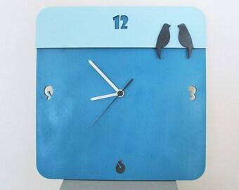 Square modern wall clock, aqua and teal unique clock, love birds wooden clock, badroom clock, wedding gift