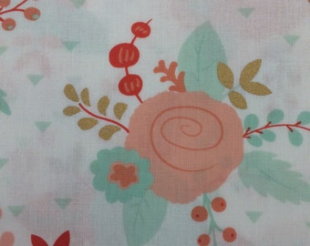 Gold Mint Peach Roses Cotton Quilting - Fabric BTY