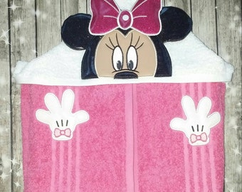 Custom 3D Minnie Hooded Towel