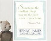 Personalized Baby Announcement Art Print, Pooh Art, Nursery Art, New Baby Art, Baby Gift
