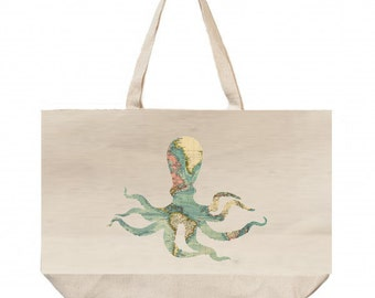 LARGE Canvas Tote Bag,  Reusable Grocery Bags - Octopus with Map