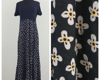 60% OFF Vintage 1990s Navy Blue Ribbed Floral Maxi Dress Posessed Clueless Festival M (d)