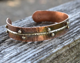 Mixed Metal Copper and Sterling Silver Cuff Bracelet