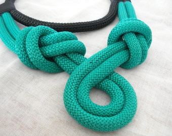 Emerald rope necklace, Knot necklace, Nautical knot jewelry, Rope necklace, Statement jewelry, Gift for her, Stylish jewelry, Xmas gift.