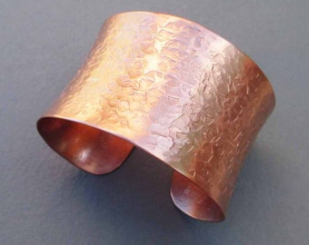 Hammered Copper Cuff Bracelet Textured Metal Artisan Handmade by Seventh Willow Unique Contemporary Modern Jewelry 7th Anniversary Gift