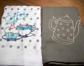 Dish Towels Pair of Cotton Dish Towels Brown and Brown Polka Dot Dish Cloths Hand Embroidered Dish Towels Coffee Dish Cloths Tea Towels