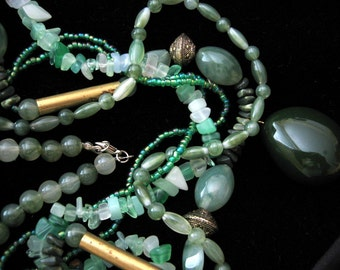 JADE Multistrand Necklace with Brass and Silver Beads