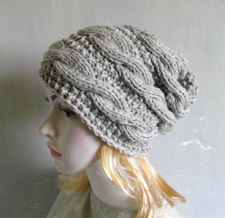 Mens Slouchy Beanie Knit Pattern : Women Men knit slouchy beanie hat Chemo Headwear Slouch Beanie