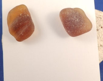 Amber beach glass stud post earrings with silver tone butterfly backs