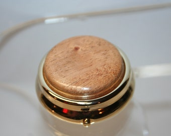 Handcrafted Wooden Mini Pill/Secret Box - Fine African Mahogany Cap in a 24 ct Gold Finished Pill or Secret Box