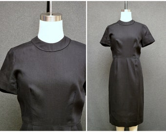 1940s Jerry Gilden Black Linen Dress