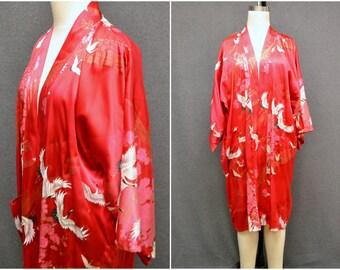 1970s Pink Silk Short Kimono Robe