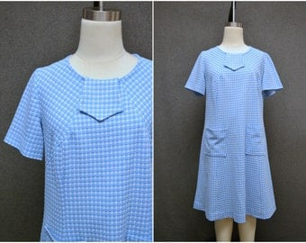 1960s Blue and White Check A-Line Dress