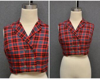 1960s Montaldo's Plaid Cropped Shirt