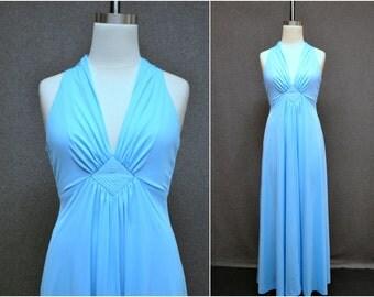1970s Blue Halter Maxi Dress