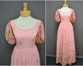 1970s Pink Floral Puff Sleeve Maxi Dress