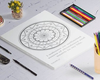 Money Mantra Mandala - Adult Coloring Pages - Downloadable Coloring Pages - Mandala Coloring Pages