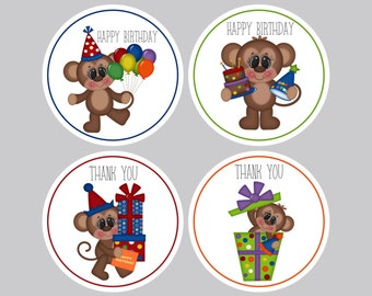 Set of 8 Birthday Tags, Personalized Tags, Favor Tags, Party Tags, Treat Bag Tags, Birthday Tags, Thank you Tags Birthday Monkey Tags