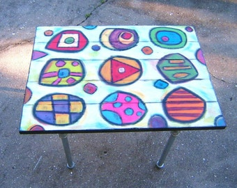 Abstract Java Table, Original Art Furniture, Coffee Table, Painted Table, by Fig Jam Studio