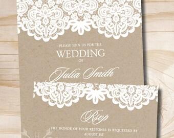 Kraft Paper White Lace Rustic Vintage Wedding Invitation Response Card Invitation Suite