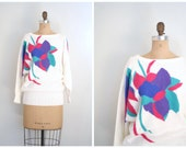 80s graphic floral ladies sweater - metallic glitter lurex / vintage 80s - bat wing sleeves / New Wave - 1980s punk - kawaii