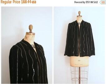 SALE / jet black velvet cocktail jacket - opera / Waterfall Sequins - vintage 40s / sequined - 1930s party jacket