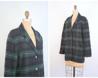 vintage 80s preppy plaid blazer - ladies wool boyfriend jacket / Plaid Tartan - 80s school girl hacket / Express Compagnie International