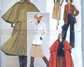 Vintage 1970s Yves Saint Laurent Vogue Paris Original 1347 Coat, Skirt, Pants and Top Sewing Pattern Size 12