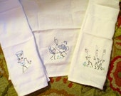 ESTATE: 3 Enchanting Mid Century, White Cotton Vintage Dish/Hand TOWELS w/Embroidered Dancing Cutlery, Cup, Tea Cup & Tea Pot - MINT