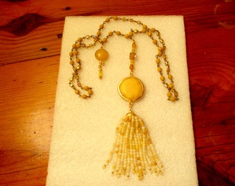 Magical! Genuine YELLOW JADE w/22k Gold Bezel-Set Pendant on Goldenrod & Crystal Rosary Chain w/Jade Charm and TURKISH Honey Jade Tassel
