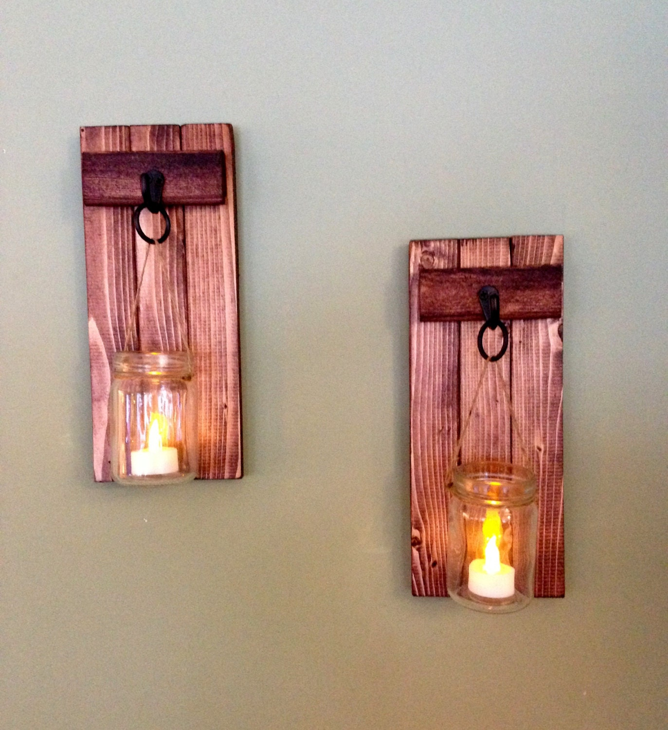 Rustic home decor wooden candle holder mason jar candle for Rustic wood candle holders