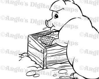 Pig Eating From Trough Digital Stamp Image