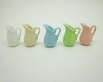 Miniature dollhouse ceramic pitcher in 1:12 scale