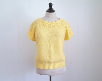 Vintage 80s Yellow Knitted Sweater, 80s Top, Cropped Sweater, 80s Sweater