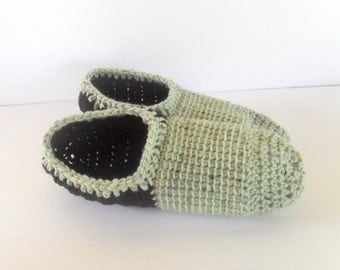 Non-Slip Slipper Socks, Green and Black Slippers, Unisex Slippers, Non-Slip Slippers