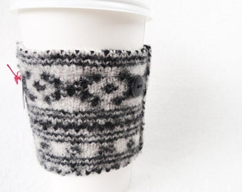 Coffee Cozy BLACK & WHITE Felted Sweater Wool Coffee Cosy / Coffee Sleeve / Coffee Sweater by WormeWoole