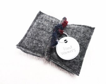 Pocket Hand Warmers GRAY CASHMERE Felted Sweater Wool Grey Handwarmers Reusble Rice Bags Portable Ecofriendly Heat Unisex Gift by WormeWoole