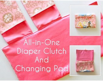 READY TO SHIP All-in-One Diaper Clutch and Changing Pad, Disney Princess Print/Pink diaper clutch and changing pad