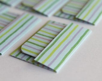 NEW -Mini Cards n Envelopes - Set of 6 - Green, Purple, Yellow, and Baby Blue Stripes